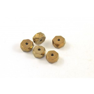 Bille de verre rondelle 6x3mm bronze